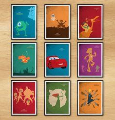 Walt Disney Pixar Animation Poster Set / 9 Poster - Cars, Finding Nemo, Up, etc. #Minimalism