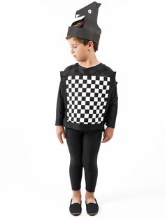 hat for chess pieces with black grad robes & black pants underneath