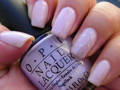 """OPI New York City Ballet manicure. Multiple layers of """"Care to Danse?"""" (sheer baby pink with a touch of lavender) with a layer of """"Pirouette My Whistle"""" (silver microglitter with silver-white hexagonal glitter) on the accent finger. #nailpolish #nailart"""