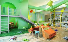 Kids Playroom Ideas With Smart Painting And Furnishing: Innovative Interior  Design For Kids Play Room With Red Wooden Deck Wooden Handle And Beautiu2026