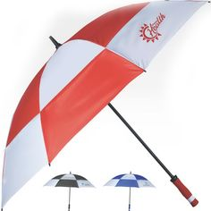 """Windproof golf umbrella.Perfect while on the course, this 60"""" Arc umbrella has a top-vented canopy to help in the wind. The frame also features reinforced wind support to prevent damage during especially windy conditions. The EVA handle allows for a comfortable, non-slip grip too! 39"""" total size. Frame: 8 fiberglass ribs with 14mm FRP shaft. Material: Polyester. Handle: EVA."""