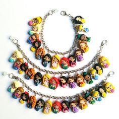Disney Princesses inspired,bracelet collection. Disney bracelet. Disney jewelry. Clay charm. Princess Ariel, Anna,Elsa,Merida,Snowwhite... If you choose the option with 7 or 10 princesses, please specify when ordering. Thank you :) COUPON Orders over $ 30 will get a discount of 10% using the coupon code CANDY17 Each object is modeled by hand and is unique, it can then differentiate themselves from the object in the picture in some detail. Small differences that guarantees t...