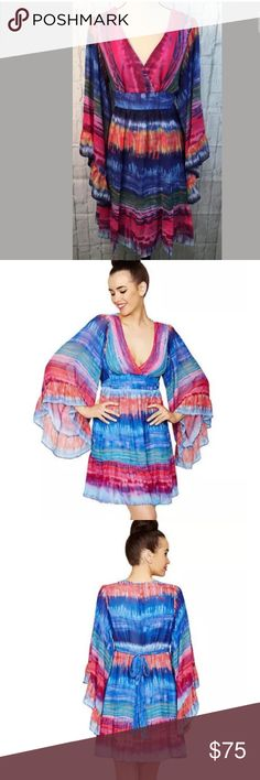 """Betsey Johnson Tye Dye BOHO Bambi Dress Sz 14 Betsey Johnson Colorful Tye Dye  BOHO Chiffon Kimono Bambi Dress  Brand New With Tag's Attached  A Babydoll Silhouette  Ruffled Bell Sleeves Festival Appropriate!  Details: Colorful Striped Tye Dye Print Surplice Bodice V-neck Kimono Sleeves with Ruffles Tie Back Sash Lined Concealed Back Zipper Material Content: 100% Polyester Dry Clean Only MSRP: $138 Women's SZ 14 Measurements Laying Flat Arm Pit to Arm Pit 18.5"""" Length 36"""" Betsey Johnson…"""