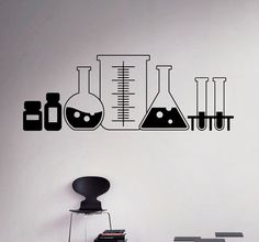 Laboratory Glass Wall Decal Vinyl Sticker Chemistry Classroom Art Decor Home Interior Room Custom Design Window Bedroom Ideas - New Deko Sites Window Decals, Vinyl Wall Decals, Wall Stickers, Sticker Vinyl, Vinyl Art, Chemistry Art, Chemistry Classroom, Science Classroom Decorations, Art Classroom