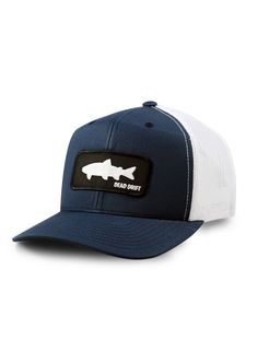 """Keep it simple! The Dead Drift """"Shadow"""" hat does just that. Dedicated to the flashes and fleeting glimpses of the shadows we chase. This is one hat you can't go wrong with and will look great on the river or off.Snap Back, Mesh Backcopyright design Fly Fishing Hats, Fishing T Shirts, Fishing Apparel, Kayak Fishing, Hats For Sale, Hats For Men, Snapback Hats, Beanie Hats, Fly Gear"""