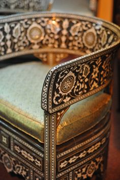 syrian chair inlaid with camel bone and mother of pearl photographed by caitlin wilson at global village in dubai