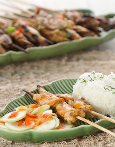 Chicken sate with peanut sauce