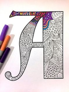 8.5x11 PDF coloring page of the uppercase letter A - inspired by the font Deutsch Gothic  Fun for all ages.  Relieve stress, or just relax and have fun using your favorite colored pencils, pens, watercolors, paint, pastels, or crayons.  Print on card-stock paper or other thick paper (recommended).  Original art by Devyn Brewer (DJPenscript).  For personal use only. Please do not reproduce or sell this item.  HOW TO DOWNLOAD YOUR DIGITAL FILES: https://www.etsy.com/help/art...