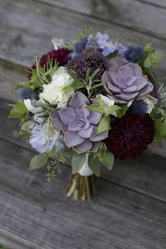 wedding bouquet of succulents burgundy dahlias thistles -- by twisted willow flowers