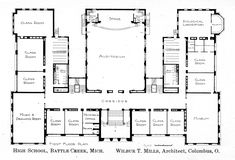 Elementary school building design plans elementary junior high first floor plan knowlton school digital library malvernweather Gallery