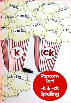 Teaching the -k and -ck spelling pattern! This word sort is perfect for first grade literacy centers when targeting spelling rules! Word Study Activities, Literacy Games, Spelling Activities, Kindergarten Activities, Literacy Centers, Reading Resources, School Resources, Phonics Rules, Spelling Rules