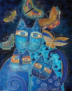 Лорел Бёрч -  Blue Cats with Butterflies   - Открыть в полный размер