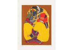 'Mother & Child' - Serigraph by T Vaikuntam. This screenprint was done on paper in 43 colours. Famous Indian Artists, Female Characters, Fictional Characters, Mother And Child, Scooby Doo, Screen Printing, Colours, Paintings, Art Prints