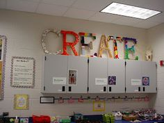 """CREATIVE Classroom. This is an art room, but I love many of the ideas here for a 7-12 ELA classroom. The clock with time flies wings is so amusing. I also love the idea of the """"create"""" letters. Each class could be responsible for decorating the large letters on during the first week of school.  Source: dolvinartknight.blogspot"""
