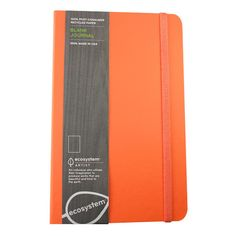 Ecosystem Lined Notebook - Beautiful Orange notebook. Eco-friendly/Green. 100% post-consumer recycled paper. $16.95