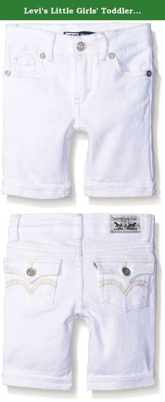 Levi's Little Girls' Toddler Sweetie Denim Bermuda Short, White, 3T. For the perfect summer style, dress her in these fashion-forward shorts. Our slightly stretchy denim will keep her comfortable, and the chic details like rhinestones on the rear pockets will have her looking like a star.