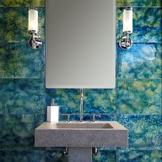 """Aura 12"""" x 24"""" glass field in steel lake with KALLISTA drain spacer, Michael S Smith For Loft mirror, sconce, One basin set with gooseneck spout, Modern supply lines and ANN SACKS Orlo 24"""" lavatory and pedestal"""