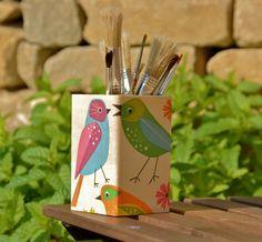 Decoupaged wooden pencil holder / cup / organizer - birds. €7,00, via Etsy.