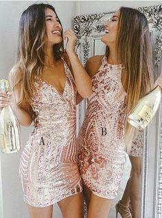 Best Sheath V-Neck Short Pink Sequined Cocktail Dress in jjpromgirl.com.