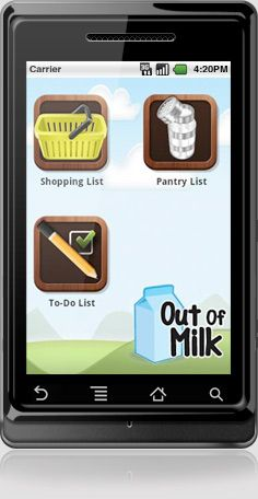 Android App - Out of Milk..... use this all the time. Once you get it set up you will never stop using it.