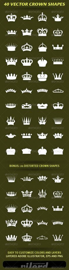 """40 Vector Crown Shapes #GraphicRiver Set of 40 vector vintage crown shapes for your graphic designs. Great for print or web design! Enjoy Adobe Illustrator is main file and """"fully editable"""". Also transparent PNG and EPS files in the package. BONUS : 20 distorted heraldry crown shapes also included. Created: 17March12 GraphicsFilesIncluded: TransparentPNG #VectorEPS #AIIllustrator Layered: Yes MinimumAdobeCSVersion: CS Tags: crests #crowns #decoration #heraldry #ornaments #print #retro…"""
