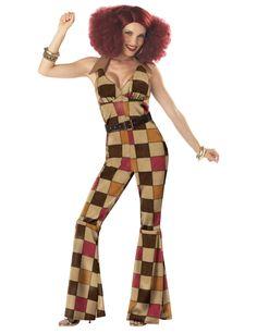 Disco Boogie-Overall für Damen: Der stylische Disco Boogie-Overall für Damen lässt die Disco-Zeiten wieder lebendig werden und besteht aus den folgenden Teilen:Der Overall wird im Nacken gebunden und betont dadurch Deine Figur....