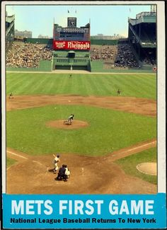 After a 4 season absence National League Baseball returns to New York as the New York Metropolitan Baseball Club plays their home opener against the Pirates in On the mound is Tom Sturdivant for Pittsburgh and hitting is the hitter, Charlie Neal. New York Mets Baseball, Baseball Park, Baseball Photos, Sports Baseball, Baseball Field, Ny Mets, Baseball Stuff, Baseball Players, Baseball Movies
