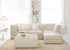 Furniture Rosario Leather Modular Living Room Furniture Collection with Sets & Pieces Furniture - Macy's White Sectional, Leather Sectional Sofas, Living Room Sectional, My Living Room, White Leather Sofas, Best Leather Sofa, Real Leather, Modular Living Room Furniture, Ideas