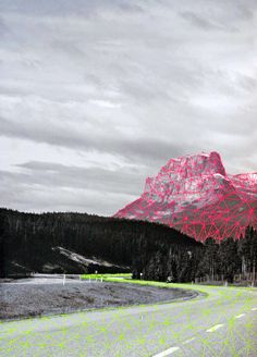Pink mountain, embroidery on paper