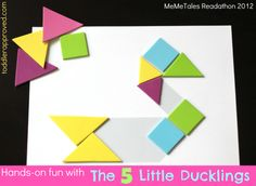 Toddler Approved!: Hands-on fun with The Five Little Ducklings #readforgood  Duck Tangrams with duck template