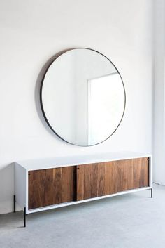 "60""DIA + 3""D INDUSTRIAL STEEL + MIRROR POLY FINISH //CUSTOMIZE THIS PIECE   This Mirror is Custom Made in Los Angeles. Welded industrial steel frame, mirror cut"