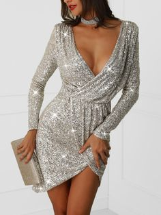 Plunge Wrap Sequin Party Bodycon Dress trendiest dresses for any occasions, including wedding gowns, special event dresses, accessories and women clothing. Club Dresses, Sexy Dresses, Evening Dresses, Casual Dresses, Fashion Dresses, Party Dresses, Sleeve Dresses, Midi Dresses, Floral Dresses