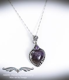 """""""Allure"""" – Elegant Six-in-one Pendant Necklace Set w/ Lepidolite & Amethyst in Fine Silver features three separate pendants & two chains that can be worn in a variety of ways, at least six separate possibilities or as unlimited as your imagination! Fantasy Jewelry, Fantasy Wire, Necklace Set, Pendant Necklace, Wire Weaving, Wire Wrapped Jewelry, Handcrafted Jewelry, Glass Beads, Amethyst"""