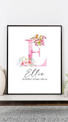 Diy Baby Gifts, Newborn Baby Gifts, Baby Girl Gifts, Baby Girl Born, Baby Girl Names, Kids Prints, Baby Prints, Watercolor Lettering, Watercolor Paintings