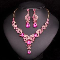 Crystal Wedding Jewelry Sets Bride Party Accessories Bridal Necklace  Earring Jewelry for Women 70dc70244292