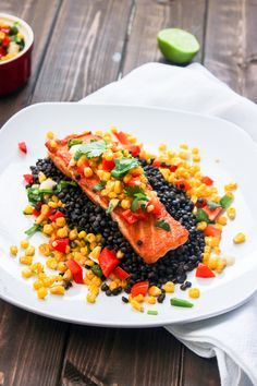 Pan Seared Salmon with Roasted Corn Salsa Served over Black Lentils + Relished Foods Delivery Giveaway
