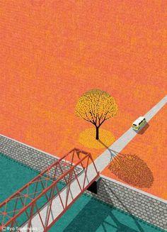 Ryo Takemasa: Cover illustration for Squet magazine, October 2015 issue. Gravure Illustration, Comics Illustration, Illustrations And Posters, Graphic Design Illustration, Graphic Art, Wallpaper Paisajes, Design Graphique, Simple Art, Clipart