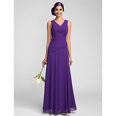 Sheath/Column V-neck Floor-length Chiffon Bridesmaid Dress (663658) - USD $ 127.39
