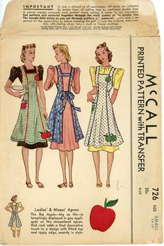 1930s Vintage Apron Pattern McCall 726 Bust 32 to by CynicalGirl, $65.00