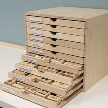 The Drawer Cabinet is great for storing wood-mounted stamps!