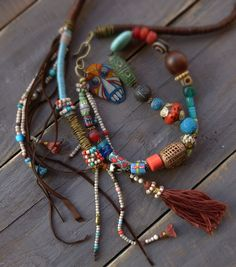 RESERVED for C.C. Ethnic, beaded, statement necklace, Gypsy,, Boho Necklace. Trade Beads and leather necklace, Tassel long necklace.