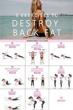 These exercises will get rid of that stubborn lower back fat. It will hit your whole back in fact, and you'll see the results real quick! 8 Exercises to Get Rid of Lower Back FatHere are 8 exercises to get rid of lower back fat! Go through the circ Fitness Workouts, Sport Fitness, At Home Workouts, Back Workouts, Workout Meals, Post Workout, Fitness Memes, Core Workouts, Fitness Pal
