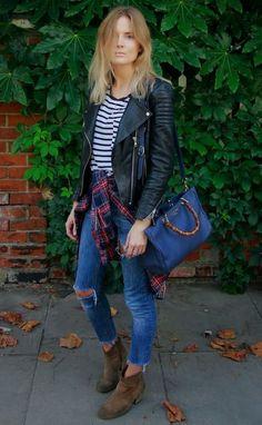 Look de inverno: bota, jeans, camisa xadrez, blusa listrada e jaqueta de couro – perfeito!