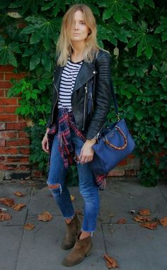 Look de inverno: bota, jeans, camisa xadrez, blusa listrada e jaqueta de couro –perfeito!