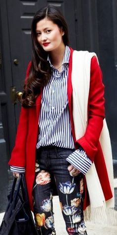 Women's red jacket, blue/white stripe blouse, white scarf,  bag & hand-painted tulip jeans.  #red