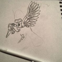 Steampunk aviator bird illustration, sketch for a leatherwork project. by Emily Makris. Bird Illustration, Leather Working, Leather Craft, Your Favorite, Create Your Own, Steampunk, Sketch, Good Things, Sculpture