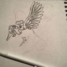Steampunk aviator bird illustration, sketch for a leatherwork project. #Minikem by Emily Makris. Leather Handtooling