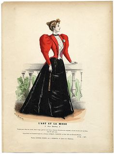 L'Art et la Mode 1893 Complete magazine with colored fashion engraving by Jules Hanriot, Felix Giacomotti 1890s Fashion, Edwardian Fashion, Vintage Fashion, Edwardian Clothing, Historical Clothing, Historical Dress, Victorian Costume, Victorian Era, French Costume