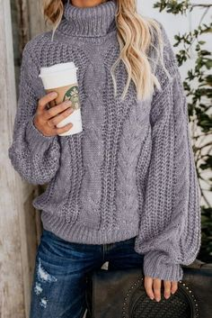Amazing offer on Pxmoda Womens Oversized Cable Knit Turtleneck Sweater Chunky Long Sleeve Pullover Outerwear online - Fancylookstar Cool Sweaters, Cable Knit Sweaters, Sweaters For Women, Pullover Sweaters, Cardigans, Chunky Knit Jumper, Long Sleeve Sweater, Turtle Neck, Women's Casual