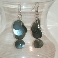 @KyDanJenjewelry Dark grey shell dangle earrings. Don't have pierced ears? No problem! Will convert to clip-ons FOR FREE! from KyDanJenjewelry for $8.00 on Square Market